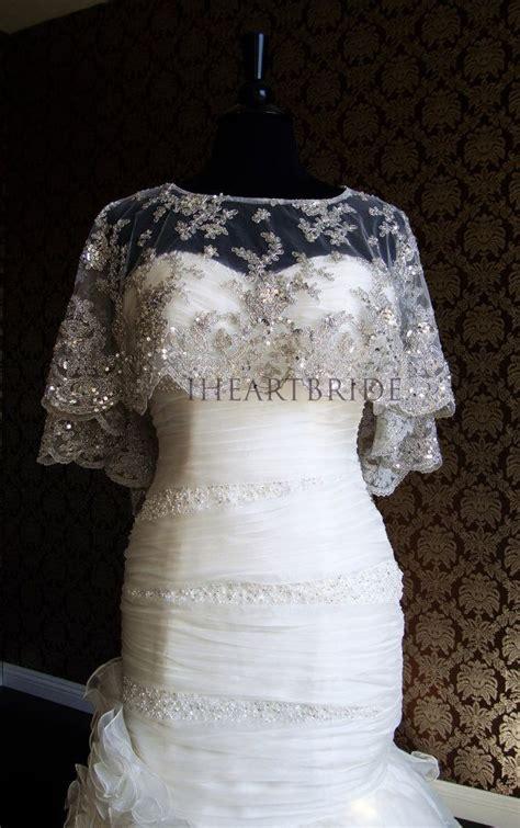 modern bride platinum caplet beaded lace super bling