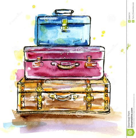 vintage suitcases  sketch style stock vector image