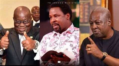A post on his facebook page, which has tb joshua was someone who actually touched the lives of many poor people. Prophet TB Joshua predicts the winner of Ghana's Election 2020   AirnewsOnline
