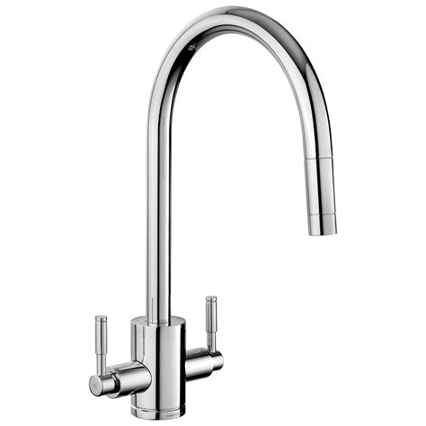 pull tap rangemaster mixer kitchen lever aquatrend sink taps dual chrome twin spout sinks brushed