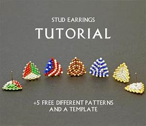 Seed Bead Stud Earring Tutorial Simple Beading Pattern Weaving