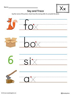colors that start with x say and trace letter x ending sound words worksheet