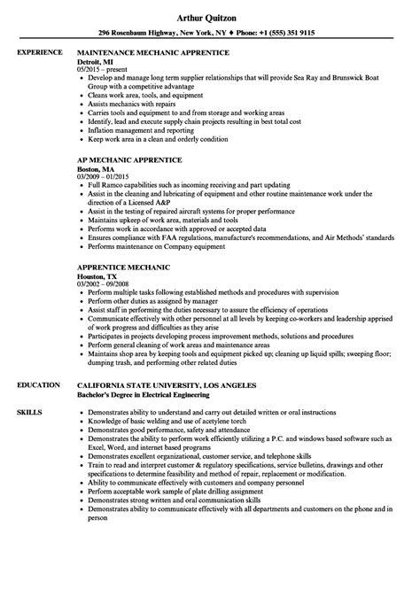 apprentice mechanic resume samples velvet jobs