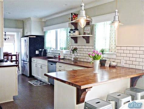 butcher block peninsula in kitchen i really the look