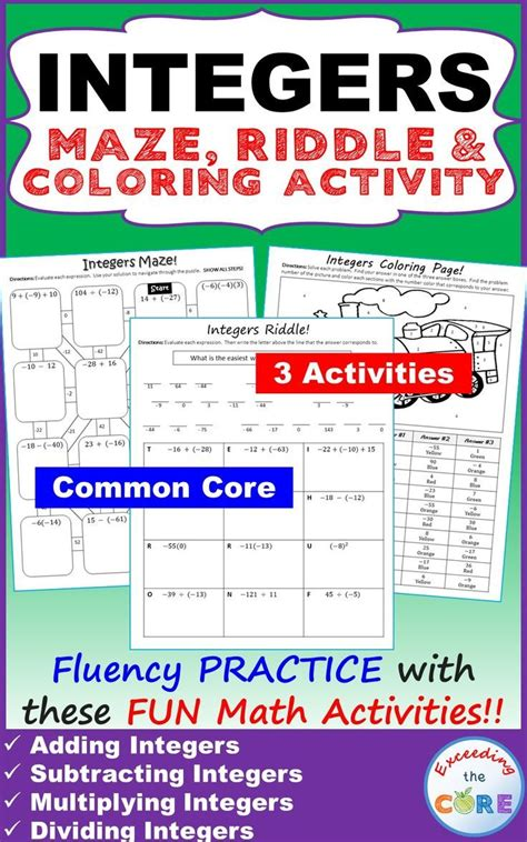 integers maze riddle coloring page math activities
