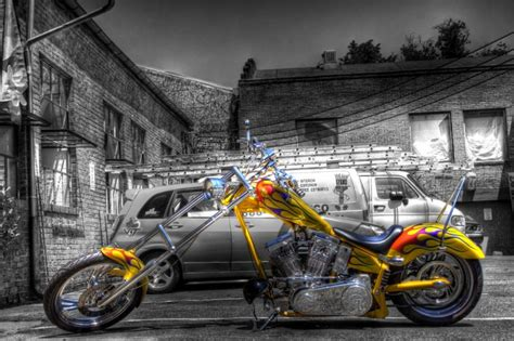 Yellow Chopper With Flames Download Hd Wallpapers And Free