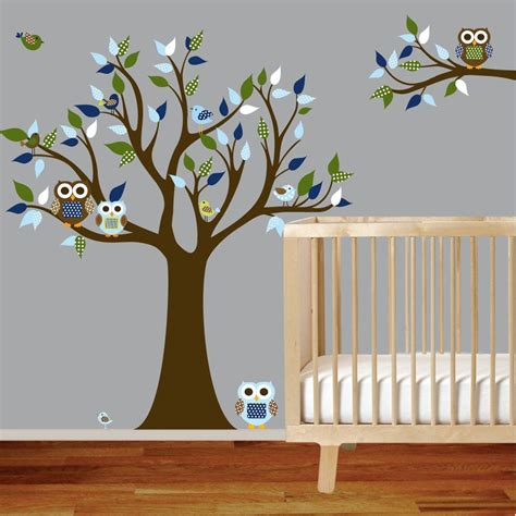 Vinyl Wall Decal Stickers Owl Tree Set with Custom Name