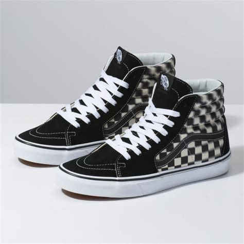 High Top by High Top Mens Vans Blur Check Sk8 Hi Black Classic White