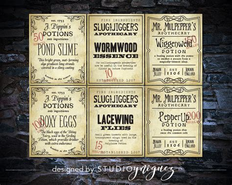 Harry Potter Potion Labels By Studioyniguez On Etsy