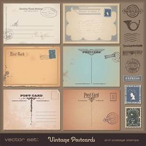 Vector set of Vintage postcard with stamps elements 05 ...