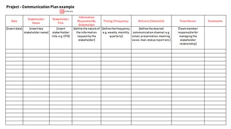project communication plan template excel