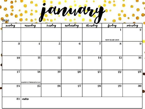 january  calendar template  holidays january