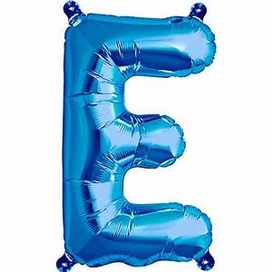 blue foil balloon letter e 16 inches 41cm partyrama With blue letter balloons