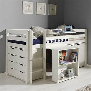 Lit Bureau Enfant : bureau pin massif blanc meuble bureau et bureau lepolyglotte ~ Teatrodelosmanantiales.com Idées de Décoration