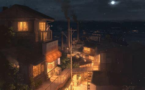 city building night industrial city moon anime anime