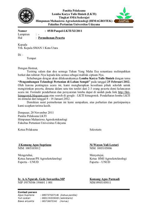 Contoh Surat Tugas Kedinasan by Contoh Surat Permohonan Peserta Lkti
