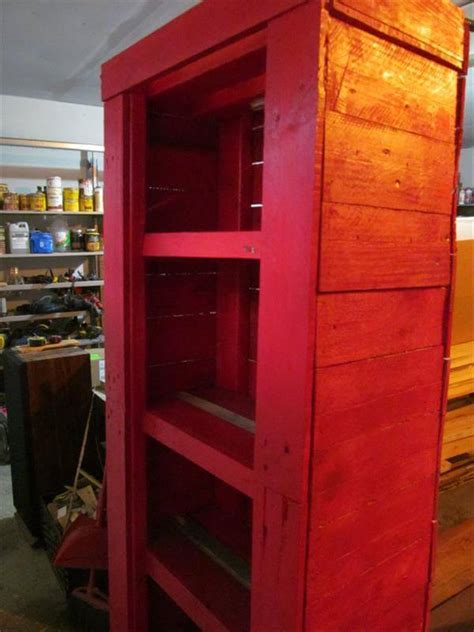 Reclaimed Wood Pallet Red Cabinet