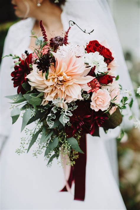 picture of bridal bouquet with burgundy dahlias