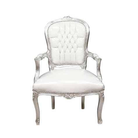 chaise style louis xv armchair baroque louis xv white and silver louis xv