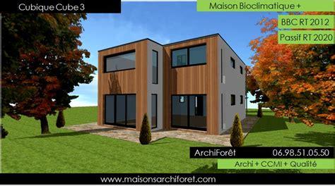 plan de maison de plain pied avec 3 chambres maison cubique cube ou carree en ossature bois par votre
