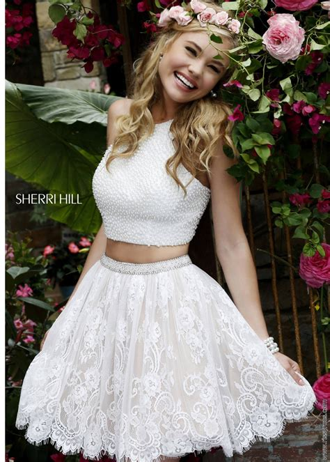Sherri Hill 32313 Ivory Pearl and Lace 2 Piece Dress | Red ...