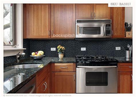 Black Countertop Backsplash by Black Galaxy Granite Blue Gray Glass Mixed