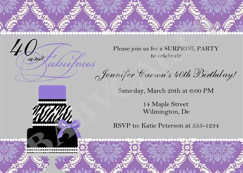 40th birthday Invitation or any age DIY Print Your Own