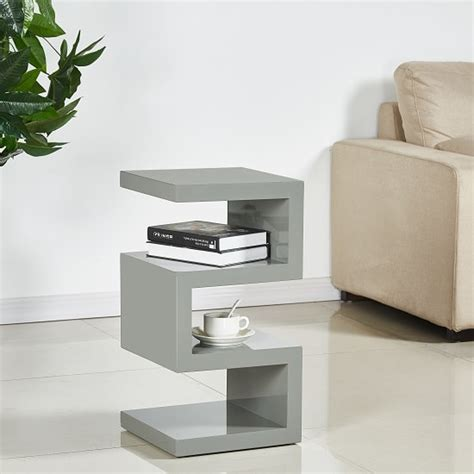 trio contemporary side table  grey high gloss