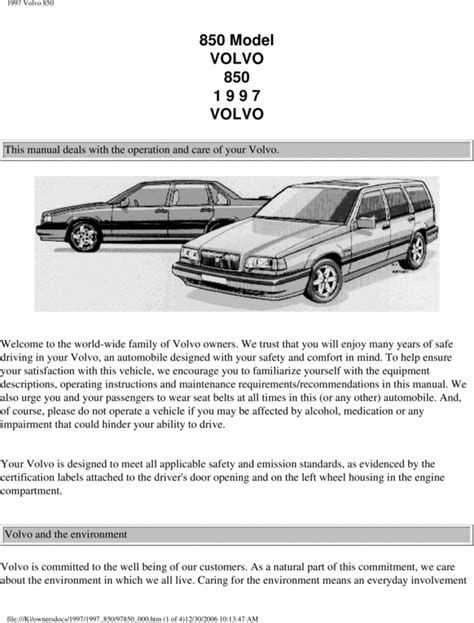 auto repair manual free download 1997 volvo 850 on board diagnostic system 97 volvo 850 1997 owners manual download manuals technical