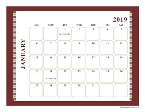 monthly calendar template large boxes