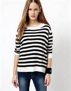 black and white striped sweater white and black horizontal striped crew neck sweater jdy