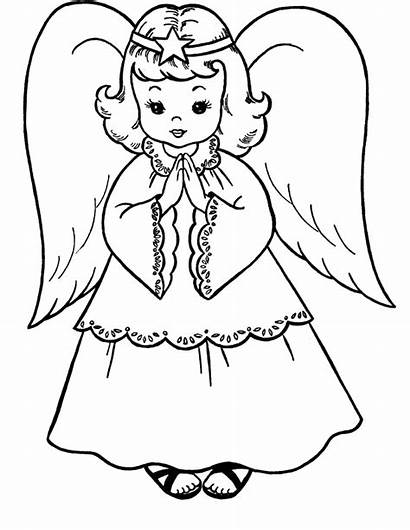 Angel Angels Coloring Pages Drawing Christmas Realistic