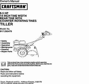 Craftsman 917293470 User Manual Rear Tine Tiller Manuals