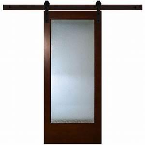 steves sons 36 in x 84 in modern full lite rain glass With 36 inch sliding barn door