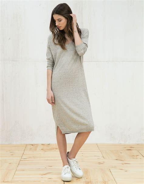 effen jurk met  hals  hals jurk jurken en kleding