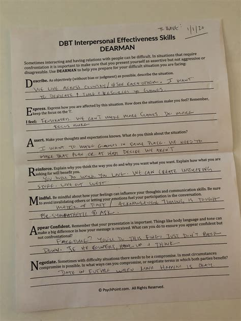 dearman dbt   form  therapy  acronym  dave