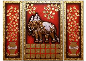 Animal Art Ancient Thai Mythical Erawan Elephant Painting ...