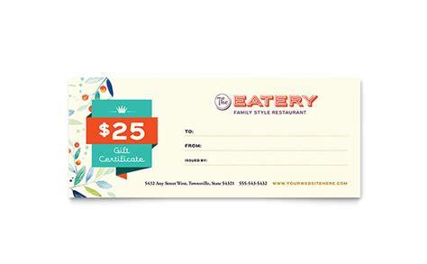 family restaurant gift certificate template design