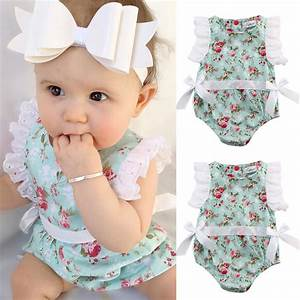 Cute Newborn Toddler Baby Girl Clothing Flower Bow Cute Clothes Lace Floral Bodysuit Outfits ...