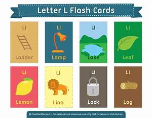 printable letter l flash cards With 2 letter words flash cards