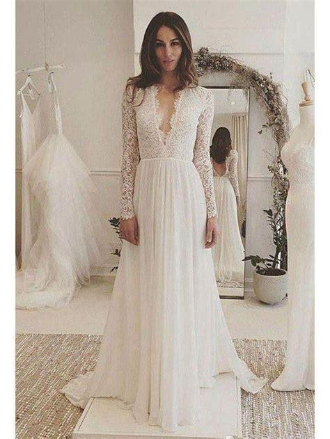 long sleeve lace top beach wedding dresses  neck dress