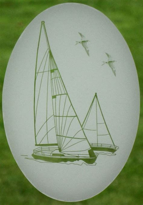 Decorative Boat Decals by 21x33 Sailboat Oval Window Decal Etched Glass Vinyl Boat