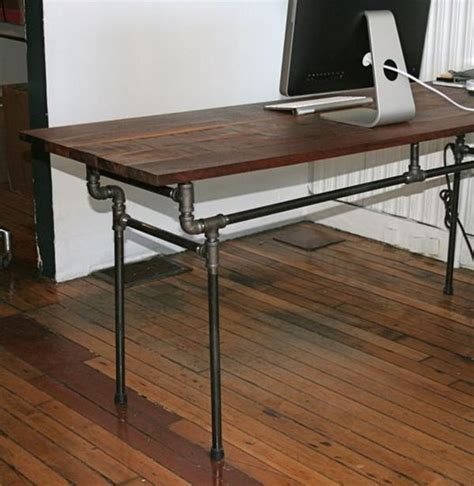 iron pipe desk plans recycled steel pipes unusual furniture and home accessories