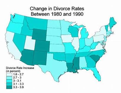 Map Divorce Change Rates Choropleth Between 1990