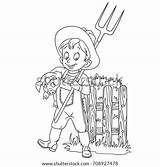 Coloring Pitchfork Farmer Cartoon Pages Template sketch template