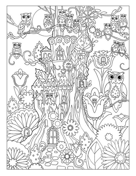 creative haven owls coloring book  marjorie sarnat