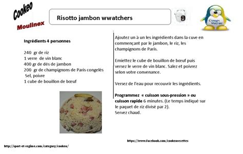 recette cuisine weight watcher fiche recette cookeo risotto jambon weight watchers