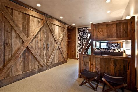 loft bed with bunk bed with barn doors marian rockwood design