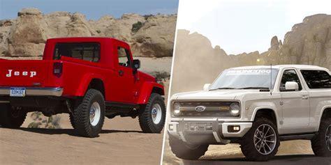 jeep wrangler pickup   ford bronco