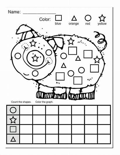 Shapes Shape Worksheets Worksheet Count Coloring Pig
